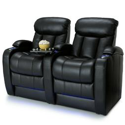 Seatcraft Grenada Black Leather Back Row of 2 Home Theater S