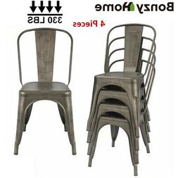 Gun Metal Dining Side Chairs Set Stackable Patio Garden Outd