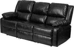 Harmony Series Black Leather Sofa with Two Built-In Recliner
