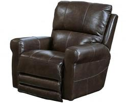 Hoffner Swivel Glider Recliner in Chocolate Leather by Catna