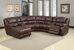 Home Theater Set Brown Polished Microfiber Sofa Loveseat Rec