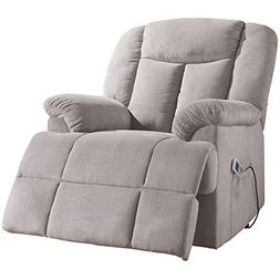 Acme Ixia Tufted Recliner in Light Gray