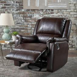 Jemma Tufted Brown Leather Swivel Gliding Recliner Chair