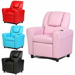 Kids Sofa Recliner Couch Armchair W/Footrest Cup Holder Livi