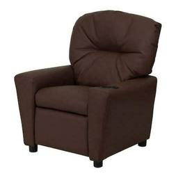 Kids Recliner Contemporary Brown Leather Cup Holder Home Dec