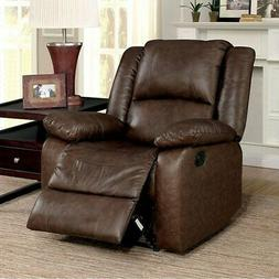 Kris Transitional Style Brown Recliner Brown Standard