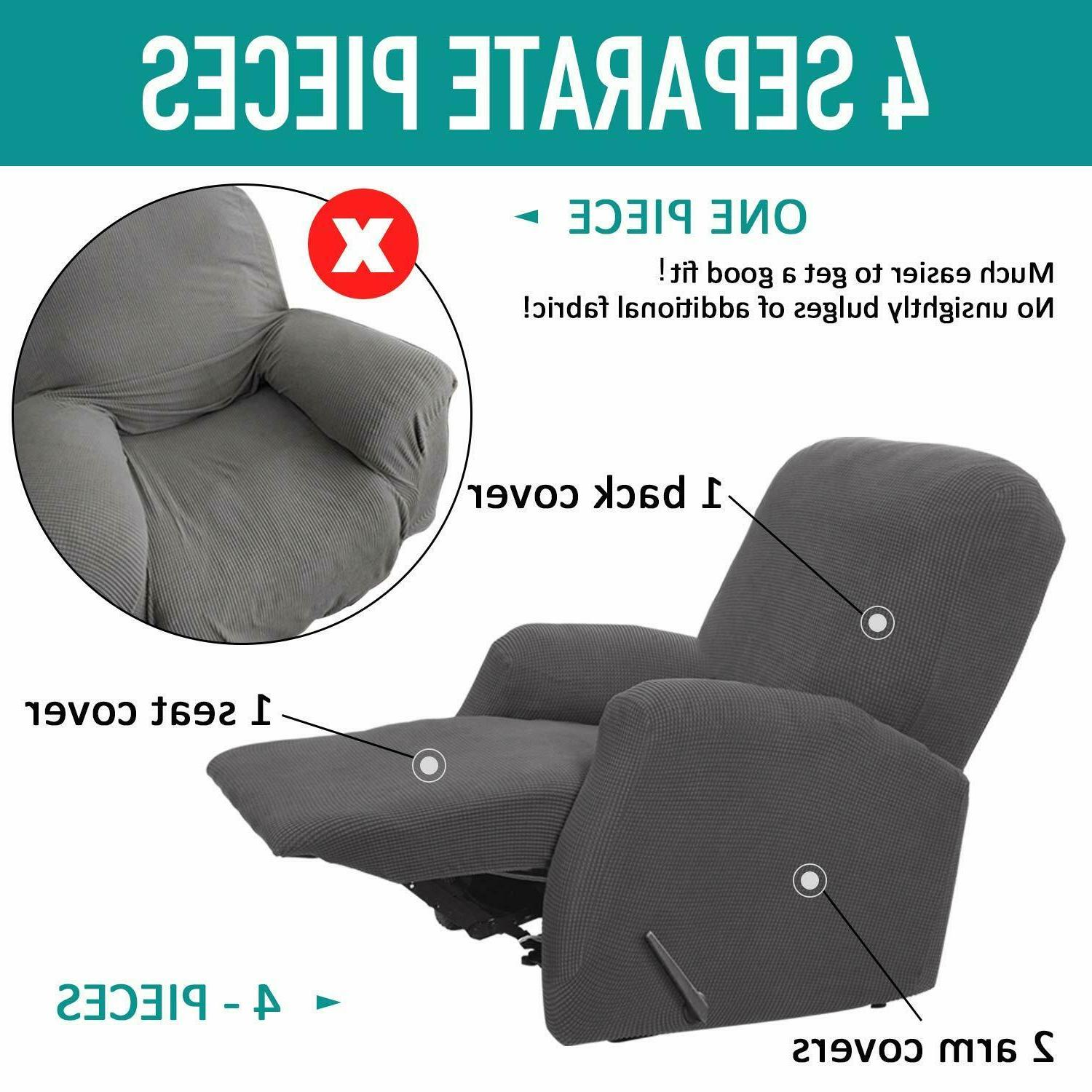 4 Pieces Cover Lazy Boy Stretch Recliner Slipcover Couch Chair Cover