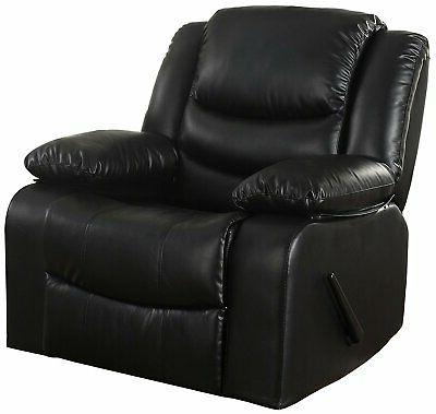 Bonded Leather Rocker Recliner Living Room Chair, Black / Br