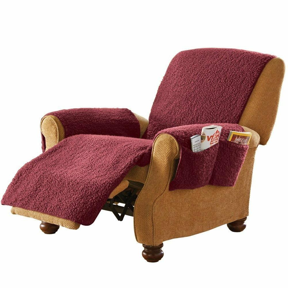 Armchair Recliner Cover Protector with Pockets Burgundy Flee