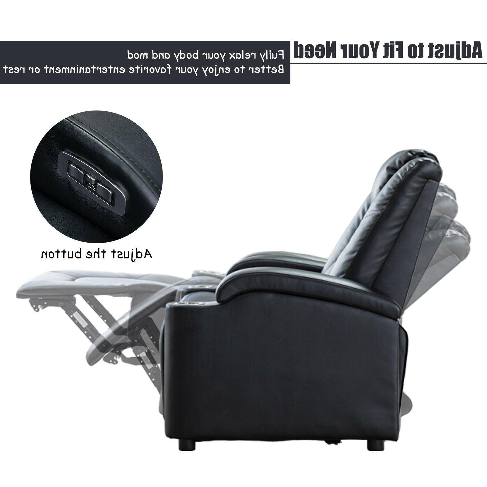 Black Chair with USB Theater Seating Arm Storage