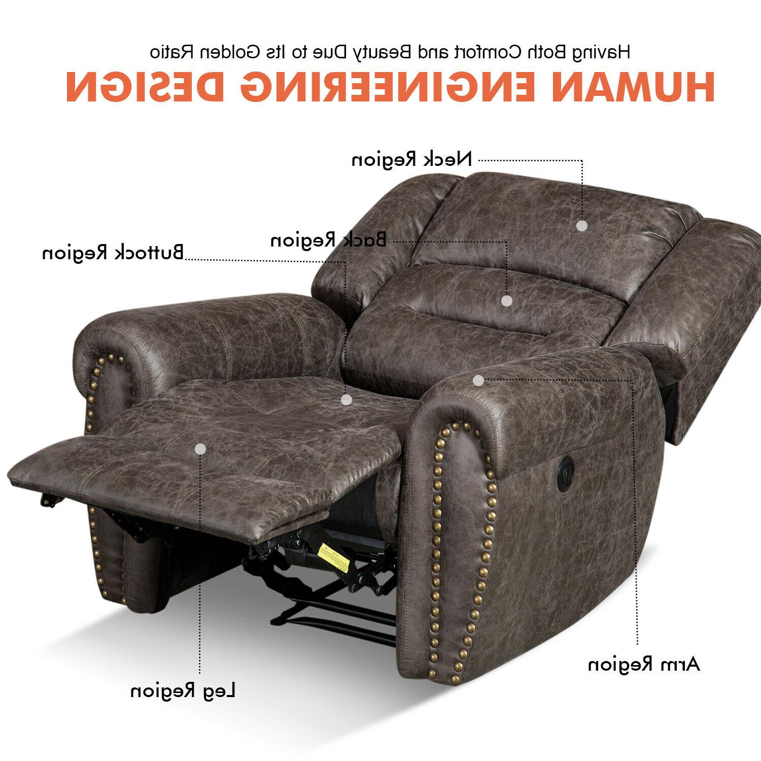 Bonded Leather Recliner Thick Sofa w/USB