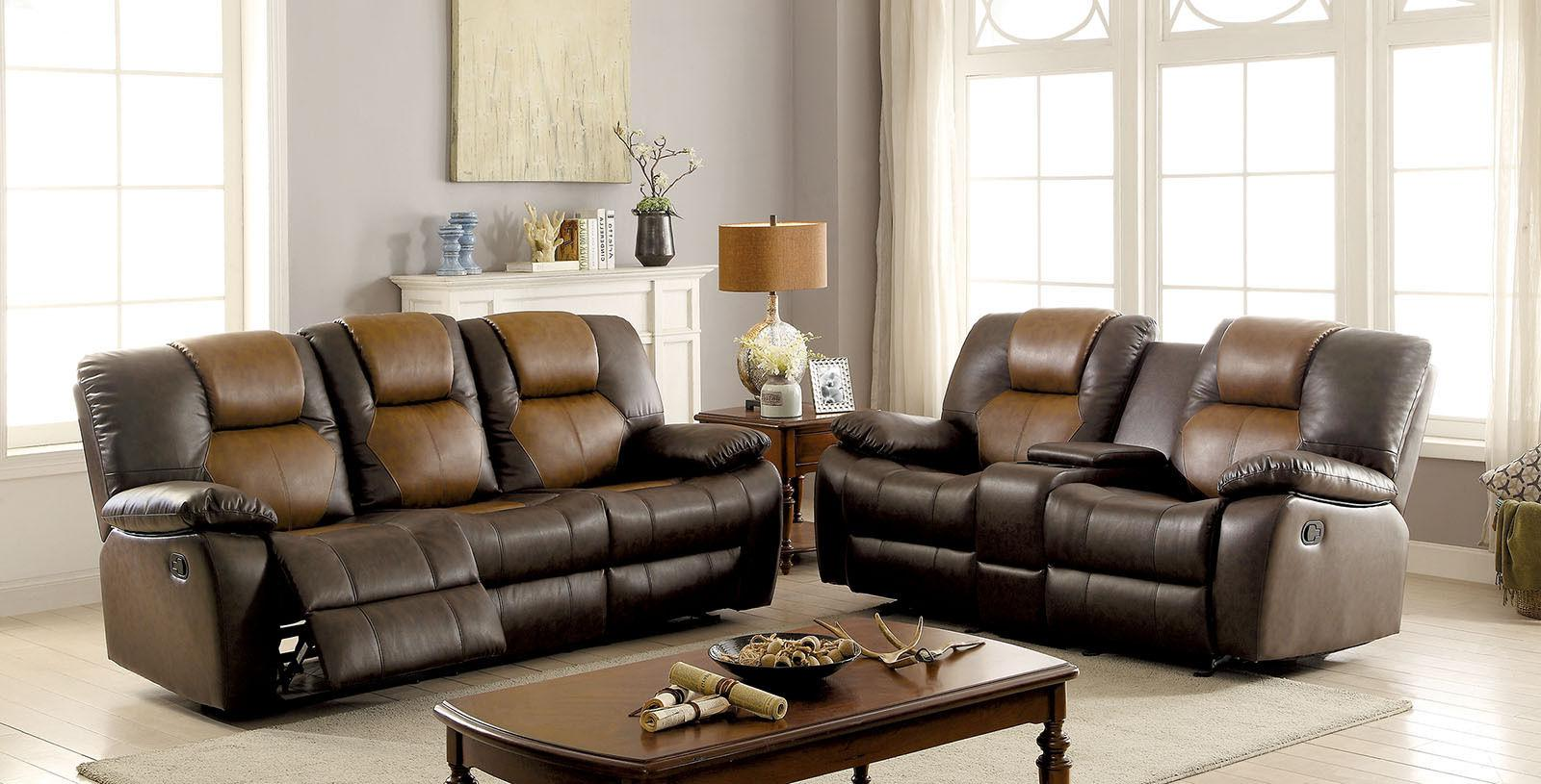 brown leatherette 2p sofa set recliners relax