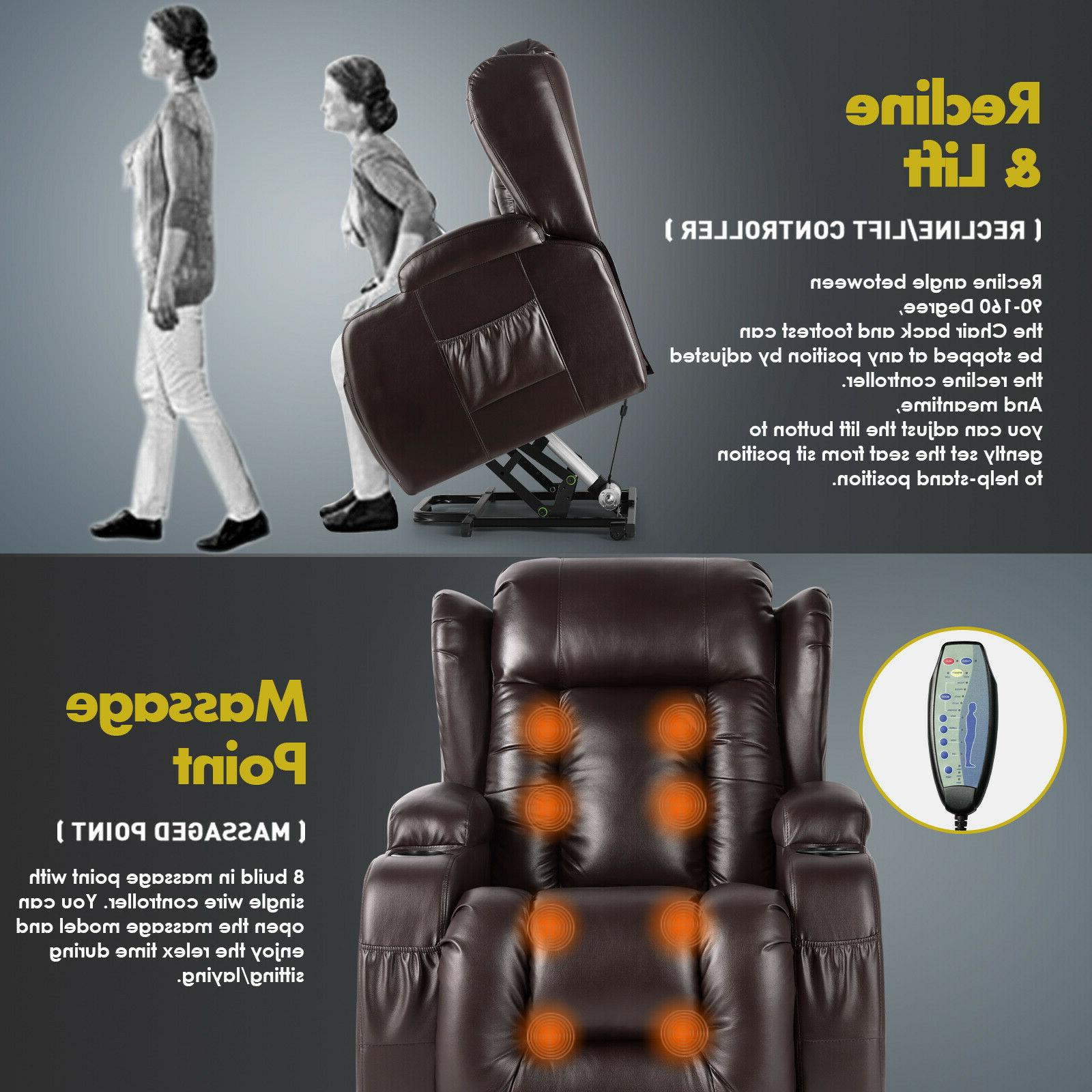 Brown Leather Auto Electric Lift Massage Recliner