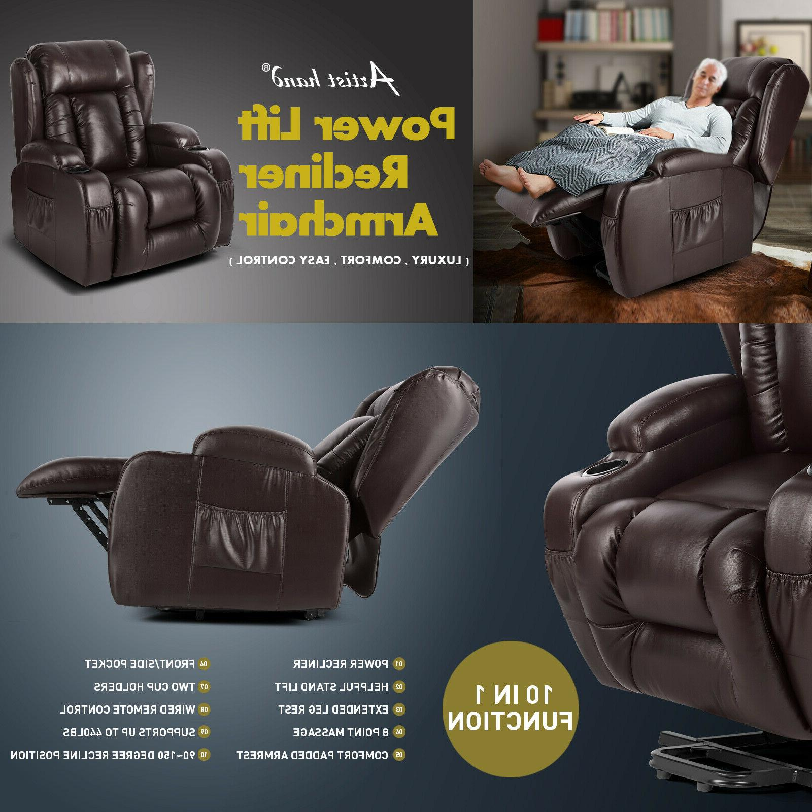 Brown Leather Electric Lift Massage Recliner