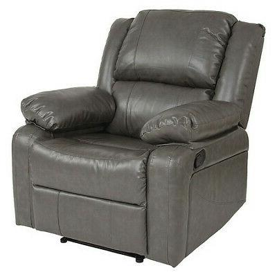 FLASH FURNITURE BT-70597-1-GY-GG Harmony Series Leather Recl