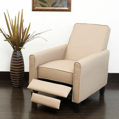 Camel PU Leather Upholstered Recliner Chair Home Theater Liv