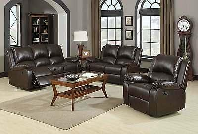 casual brown leatherette reclining motion sofa