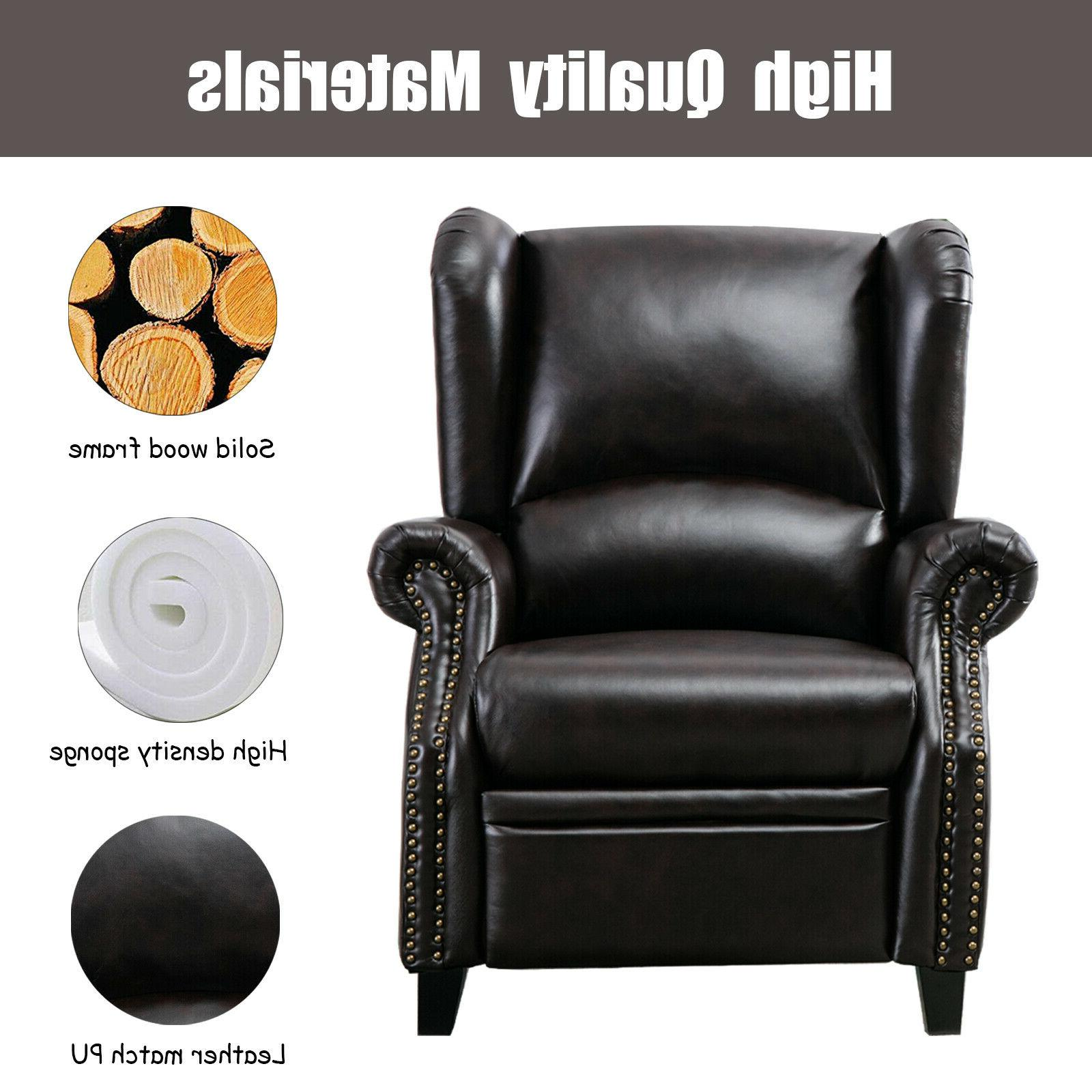 Contemporary Leather Recliner Accent Back Seat