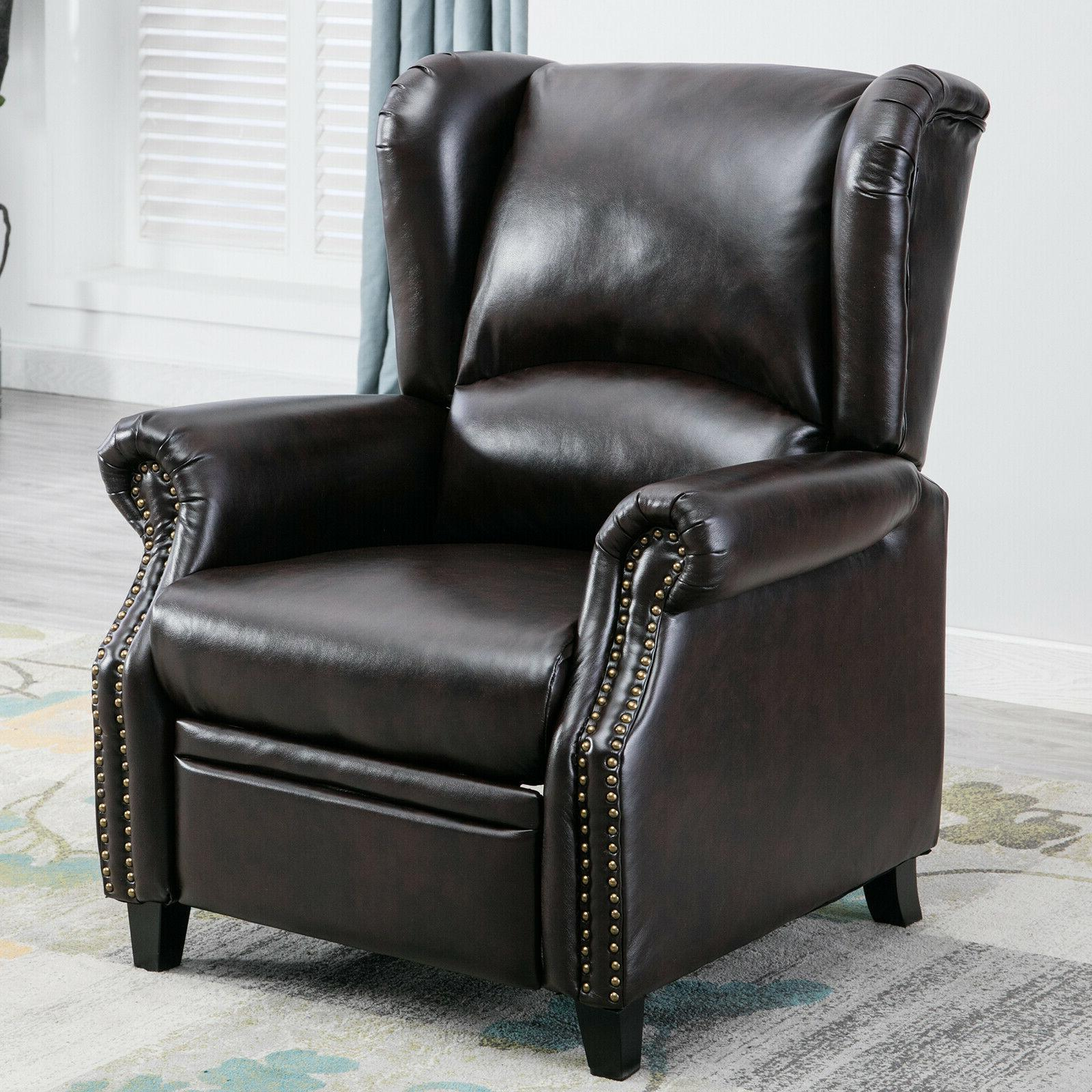 contemporary leather recliner chair accent push back
