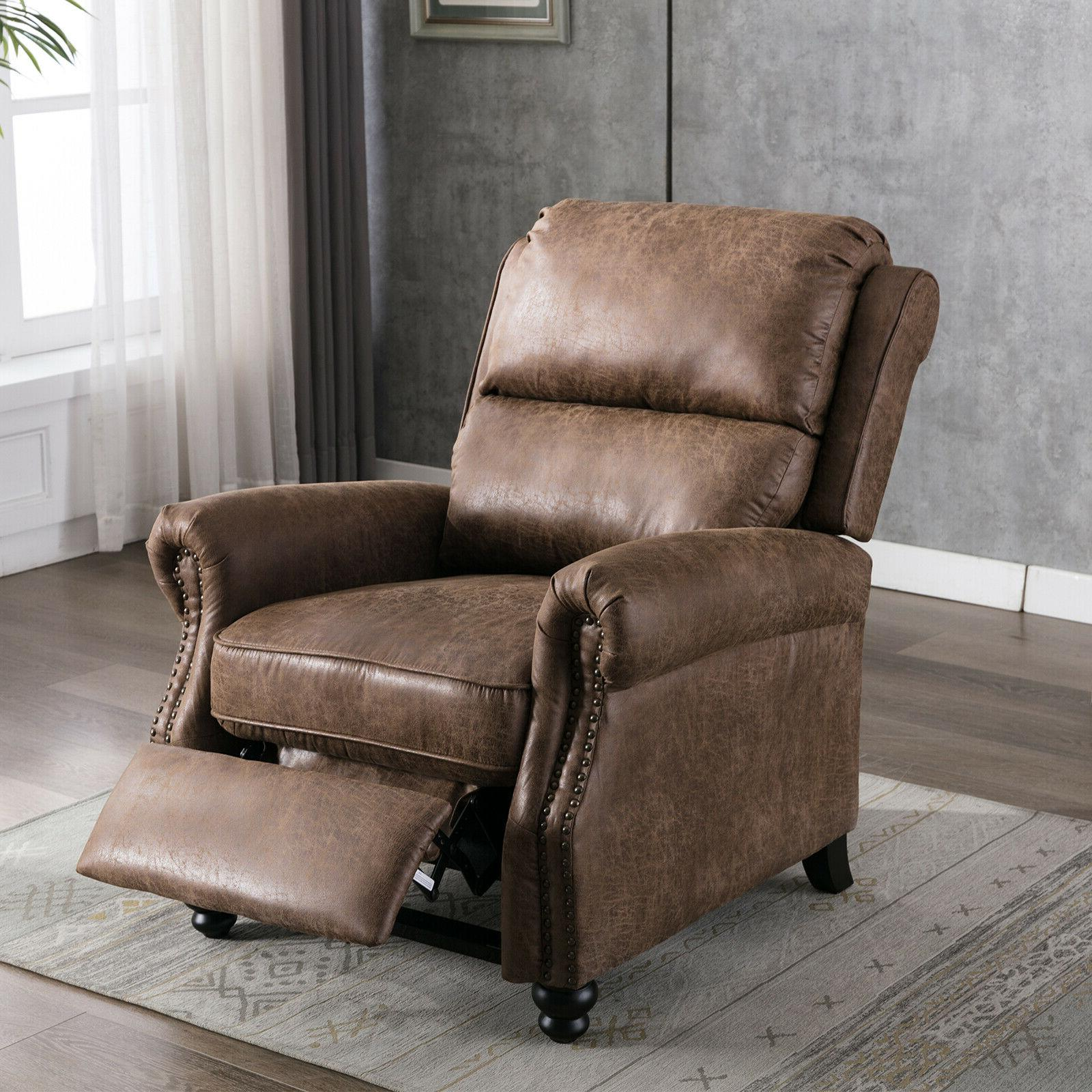 Push Back Recliner Chair Reclining Sofa With Roll Arm Thickn