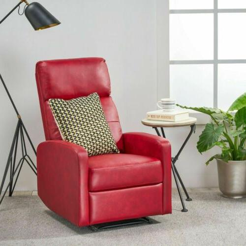 Teyana Contemporary Pillow Top Red Bonded Leather Recliner w