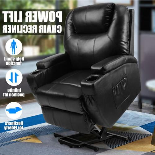 Power Lift Chair Recliner Armchair Sofa Real Leather Elderly