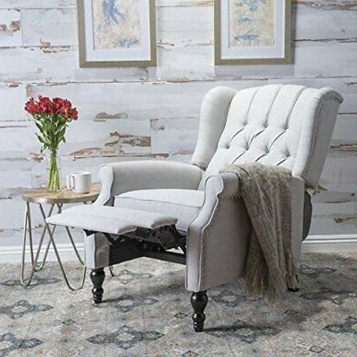 Christopher Elizabeth Tufted Light Grey Recliner Arm Chair