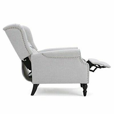 Christopher Knight Tufted Light Grey Fabric Recliner Arm Chair