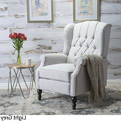elizabeth tufted light grey fabric recliner arm