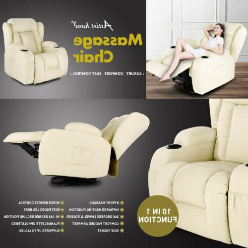 Extra Wide Back Leather Massage Recliner Chair Vibrate