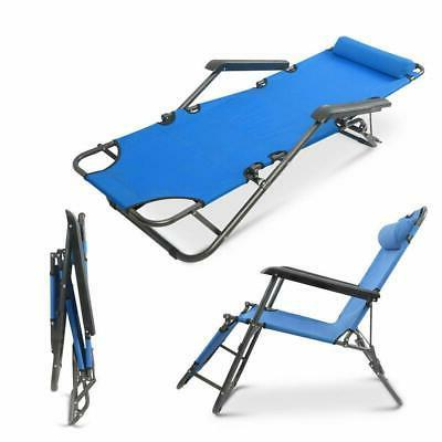 Folding Lounge Chair Patio Outdoor Pool Lawn Recliner Reclining