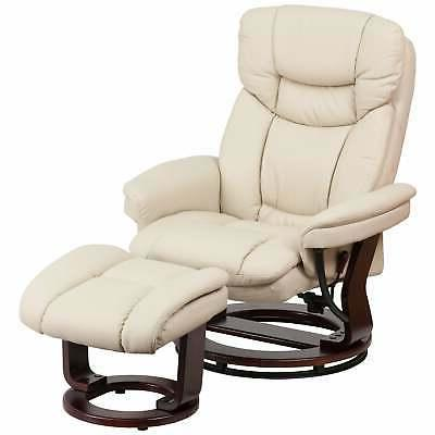 gunnison faux leather recliner with ottoman beige