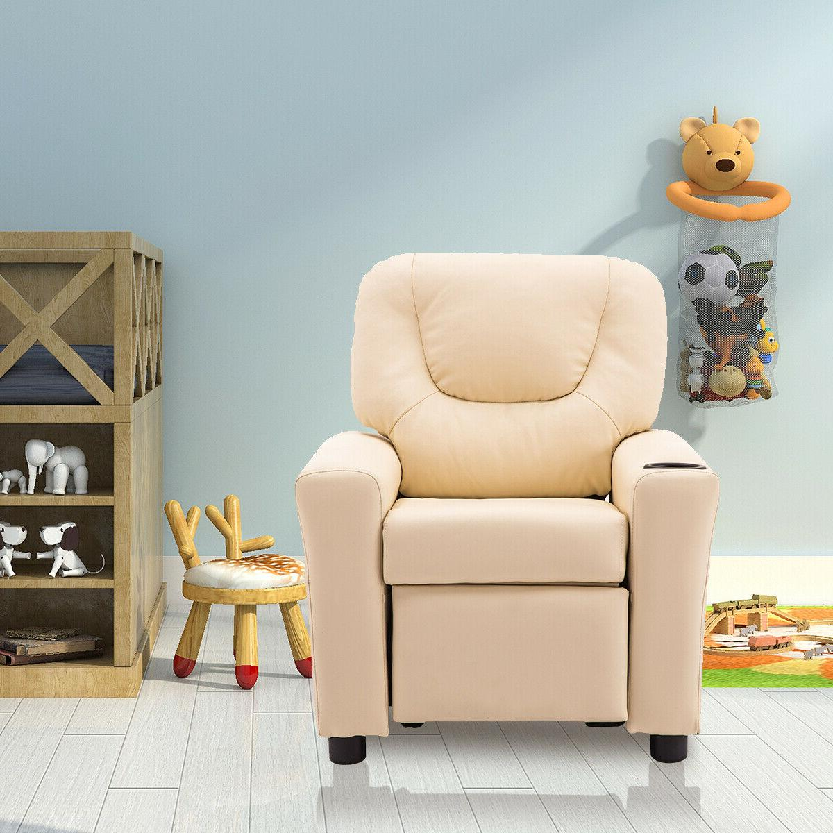 Kids Recliner Armchair Small Sofa Chair White with Cup Holde
