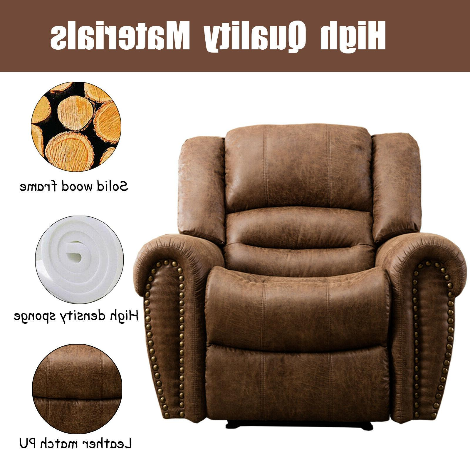 Leather Manual Overstuffed Arms and Back Lounge Room