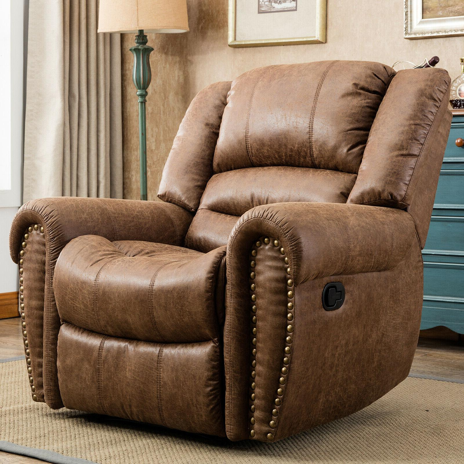 leather manual recliner chair overstuffed arms