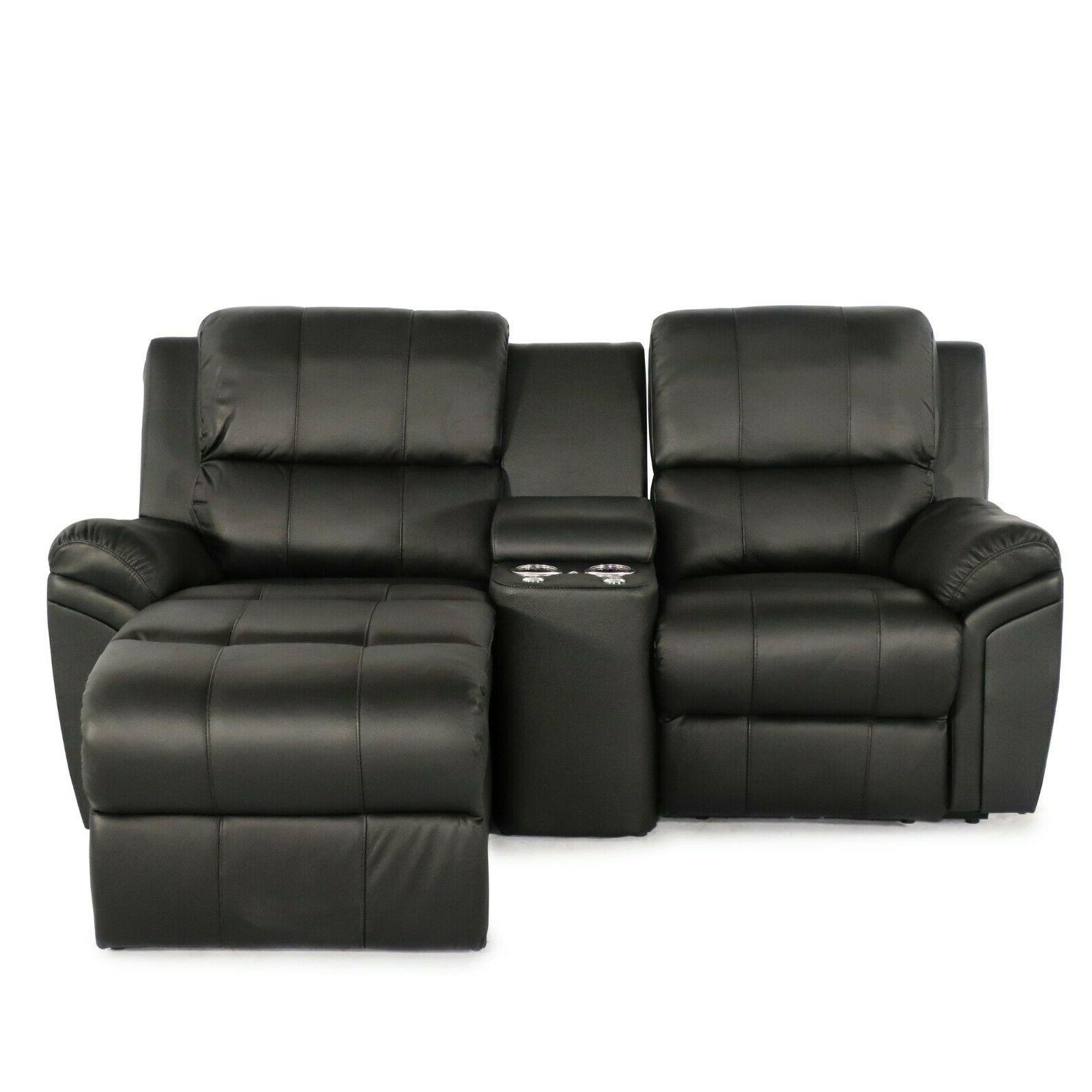 madison leather black home theater seating power