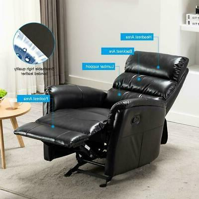 Manual Rocker Chair Leather Padded Headrest