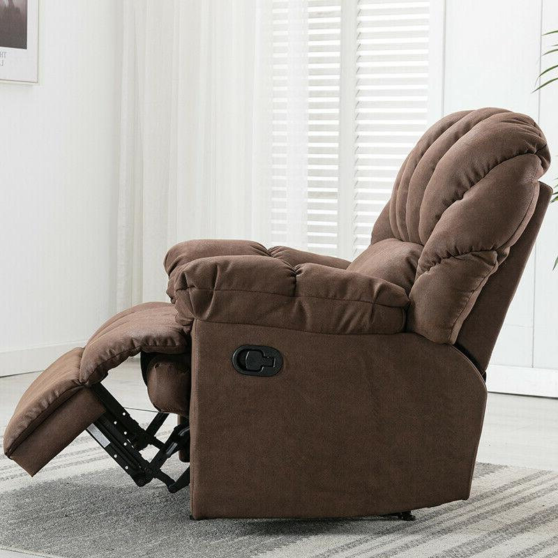 Manual Recliner Sofa Soft Padded Seat Brown