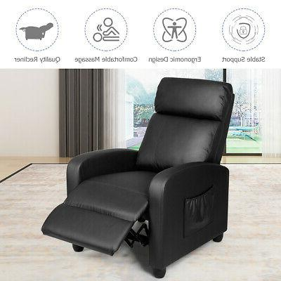 Massage Single Sofa Leather Seat w/ Footrest