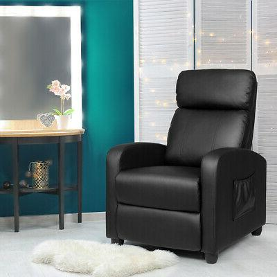 Massage Recliner Chair Single Sofa PU Leather Padded Seat w/
