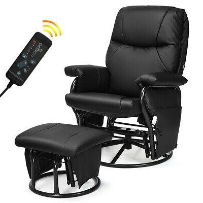 Glider Recliner Swivel Rocking Chair PU Leather Home Office