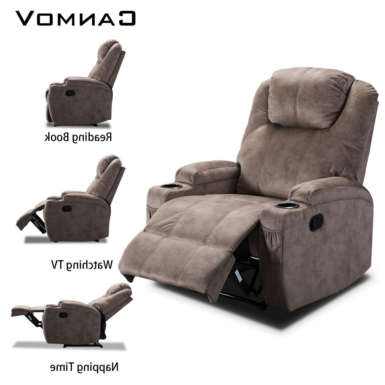 Microfiber Chair Sofa w/Cup Holders Lazy Style Theater