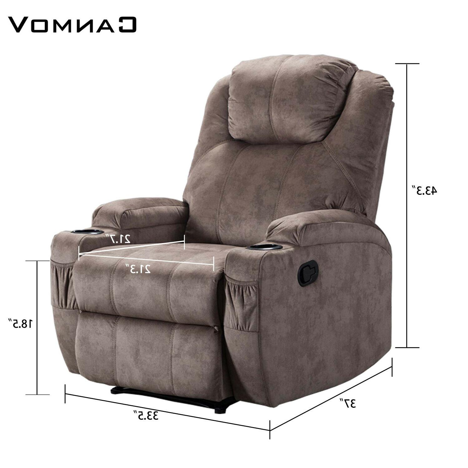 Microfiber Chair Sofa w/Cup Holders Boy Style Home Theater