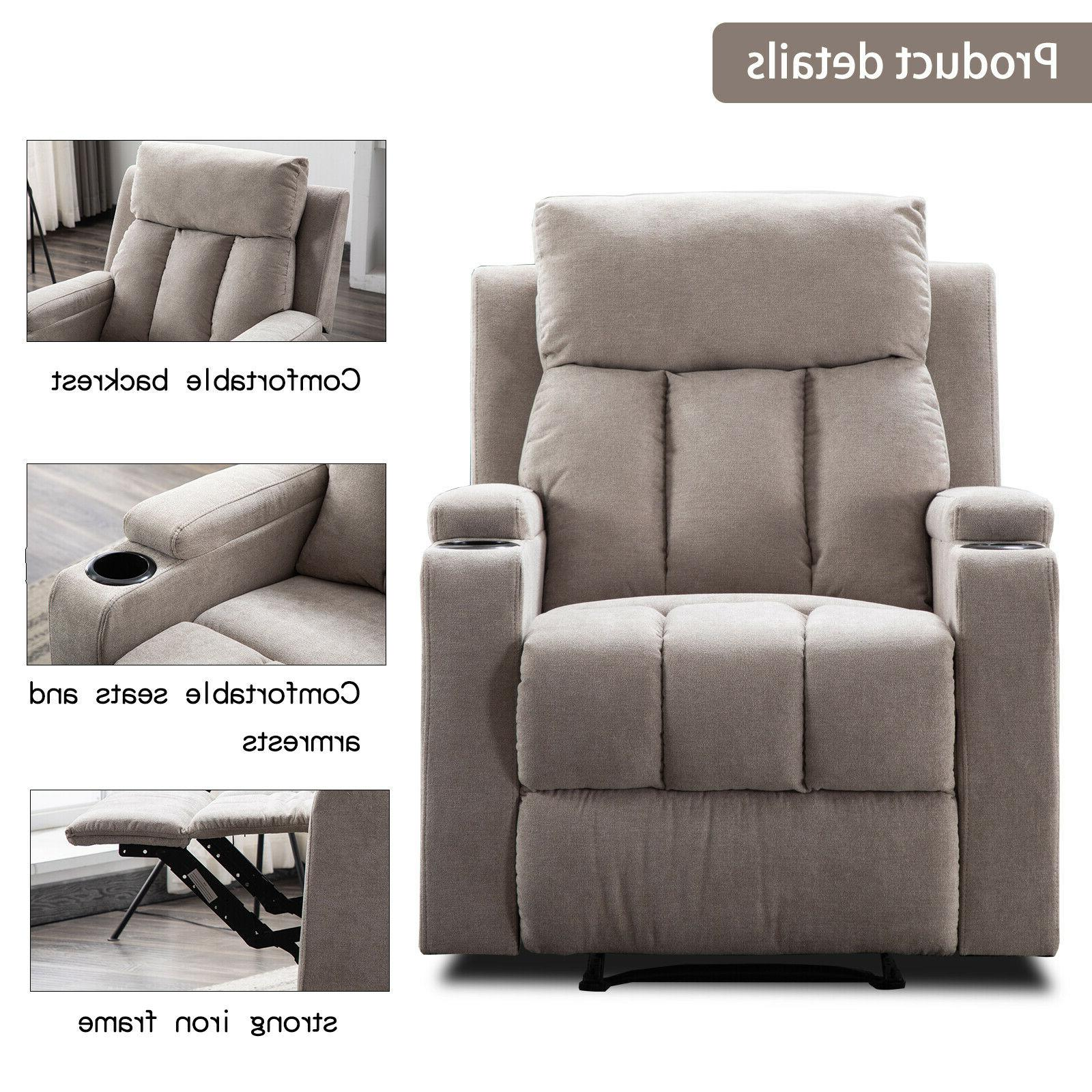 Modern Manual Recliner Sofa Room Theater Seating Cup
