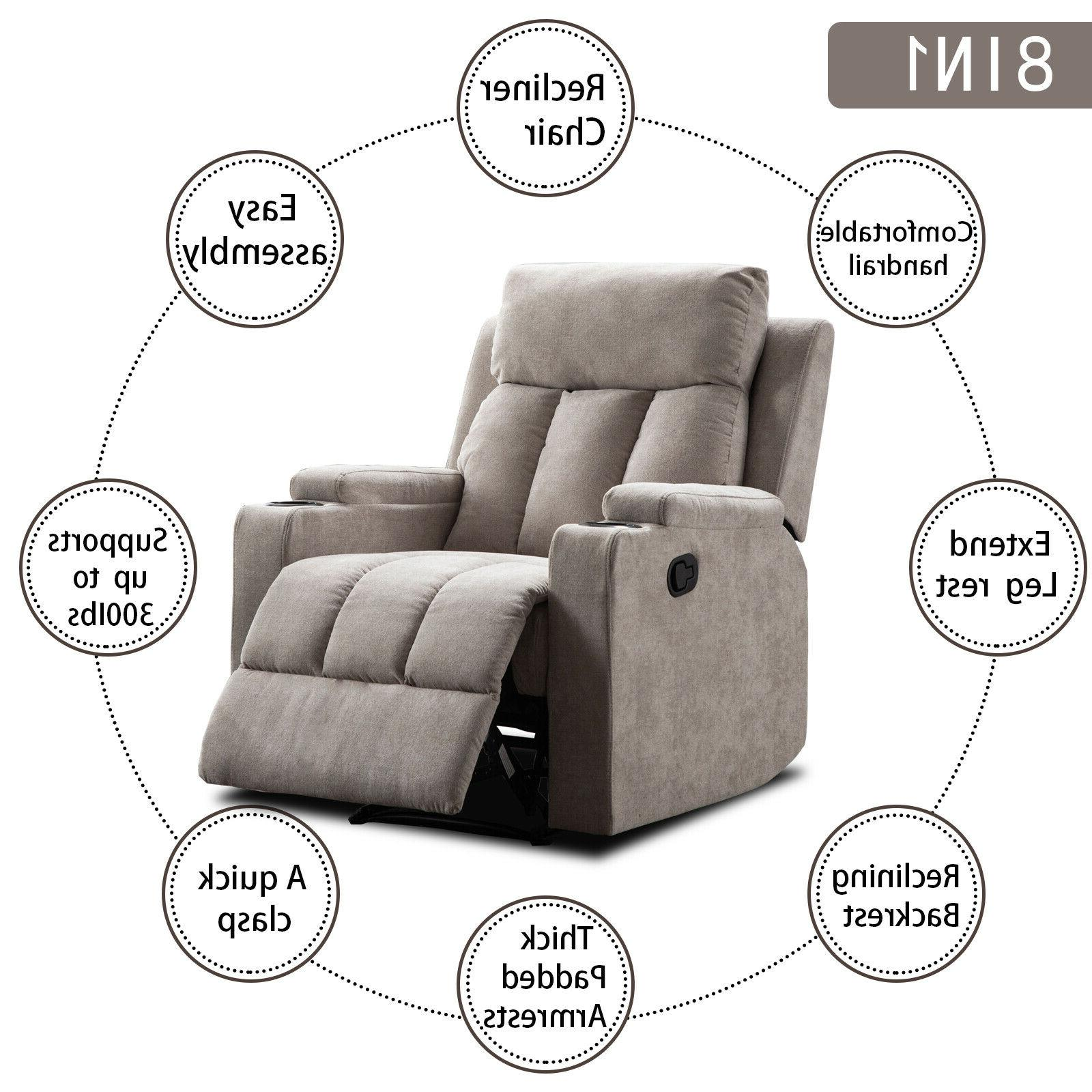 Modern Manual Sofa Living Room Theater Seating w/2 Cup