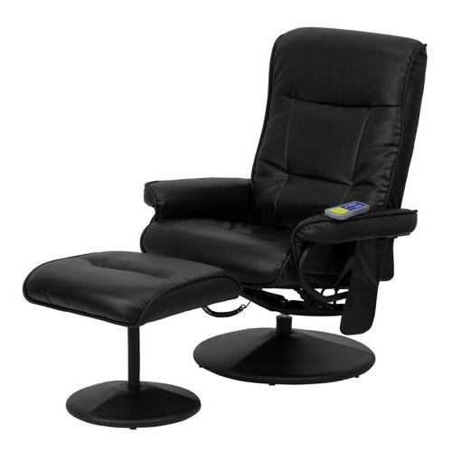 Offex OFX-84118-FF Massaging Recliner and Leather Wrapped Base - Black