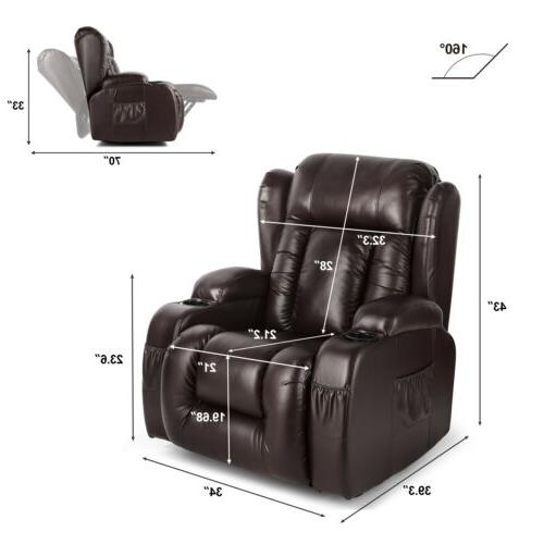 Oversize Recliner Chair Heated 360°Swivel