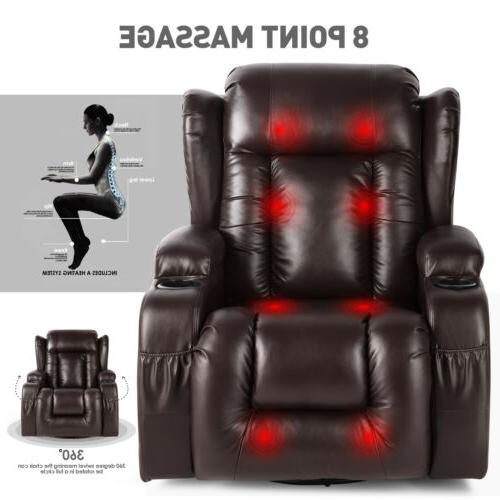 Oversize Leather Chair Rocking Vibrated 360°Swivel