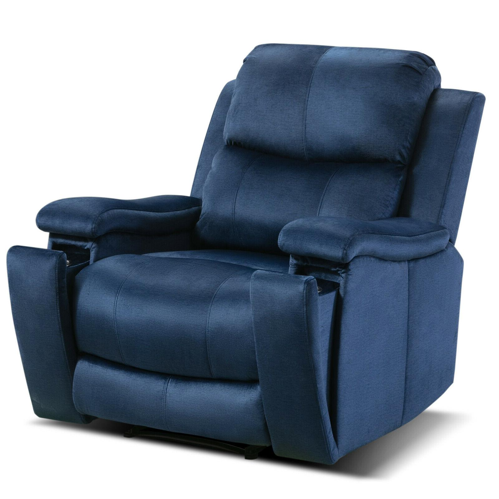 Oversized with Pullable Cup Holder Home Theater Seating Sofa Blue