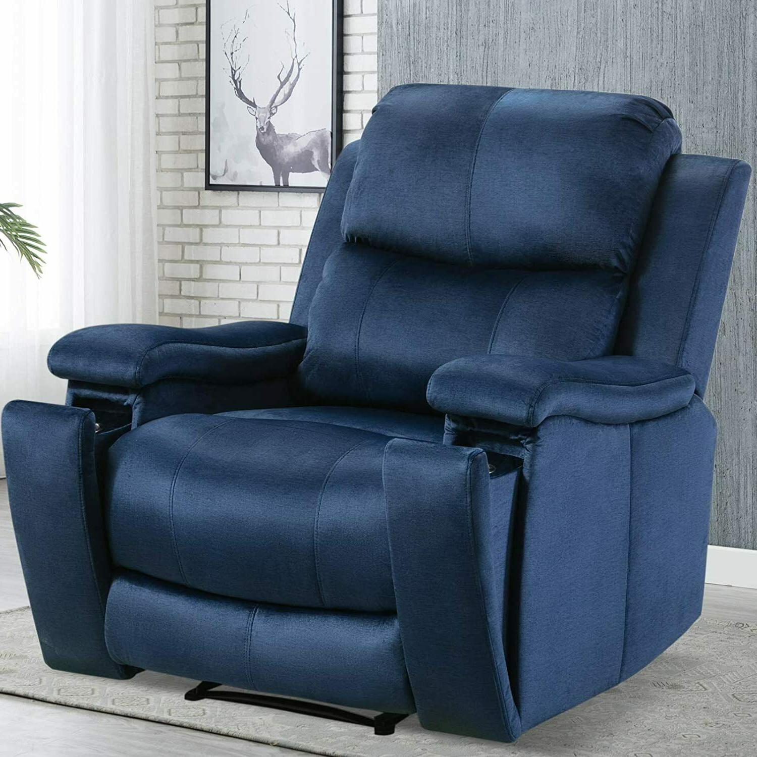 oversized recliner chair with pullable cup holder